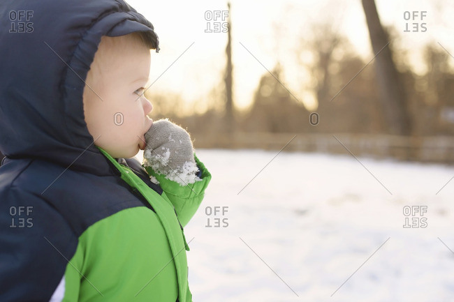 Boy with finger in mouth looking away while standing in backyard during winter