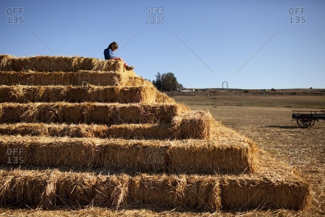 Low angle view of boy sitting on top of hay at farm against clear blue sky