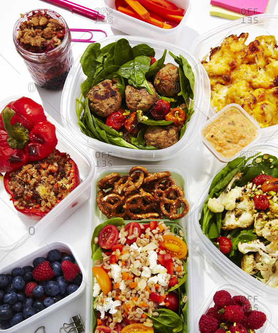 A variety of meals in tubs