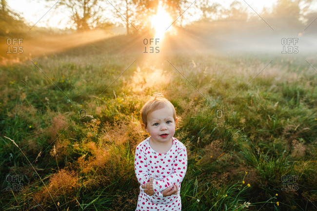 Toddler girl standing in misty field