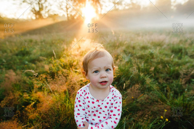 Toddler girl standing in a misty field