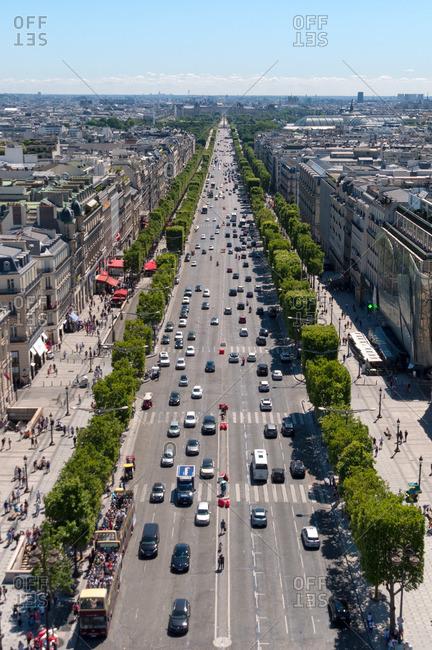 Bird's eye view of Paris from atop the Arc de Triomphe