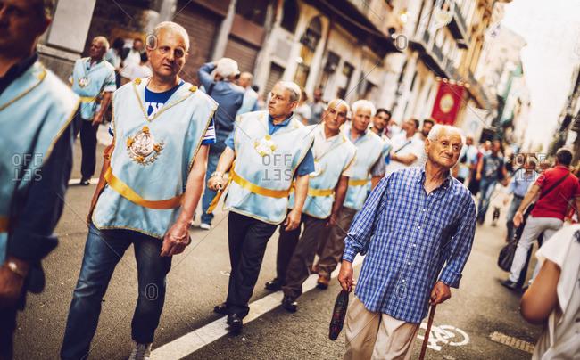 PALERMO, ITALY - JULY 15, 2016: Famous Parade of Santa Rosalia, on July 15, 2016 in Palermo, Sicily, Italy