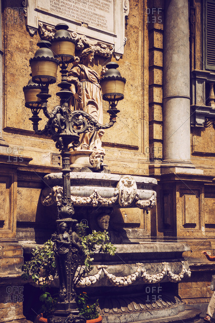Fountain in the city of Palermo city, Sicily, Italy