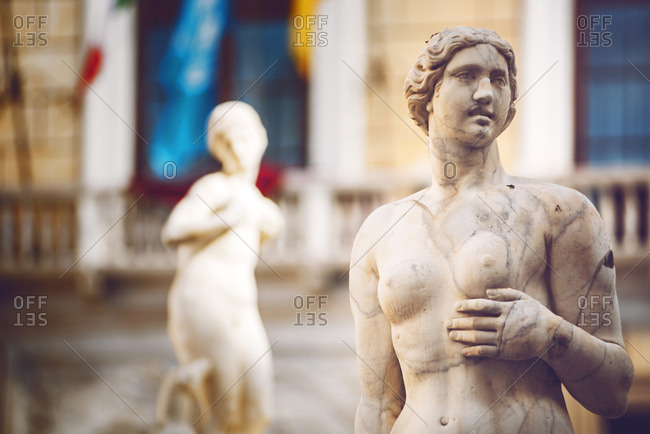 Baroque fountain with nude sculptures on piazza Pretoria in Palermo, Sicily, Italy
