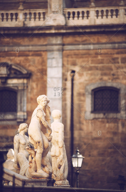 Baroque fountain with nude statues on piazza Pretoria in Palermo, Sicily, Italy