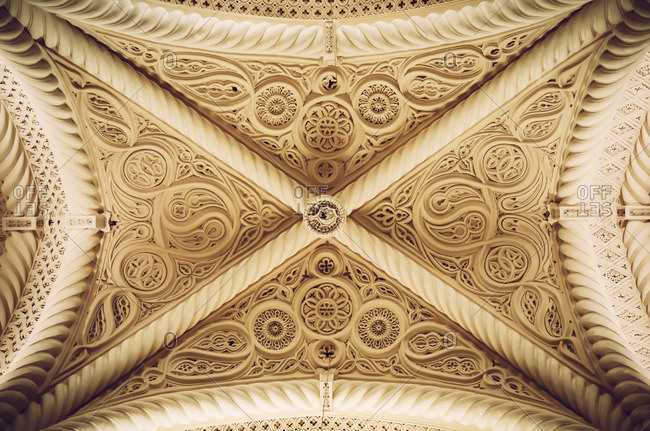 ERICE, ITALY - SEPTEMBER 12, 2016: Low angle view of the ceiling in the Erice Cathedral, Sicily, Italy
