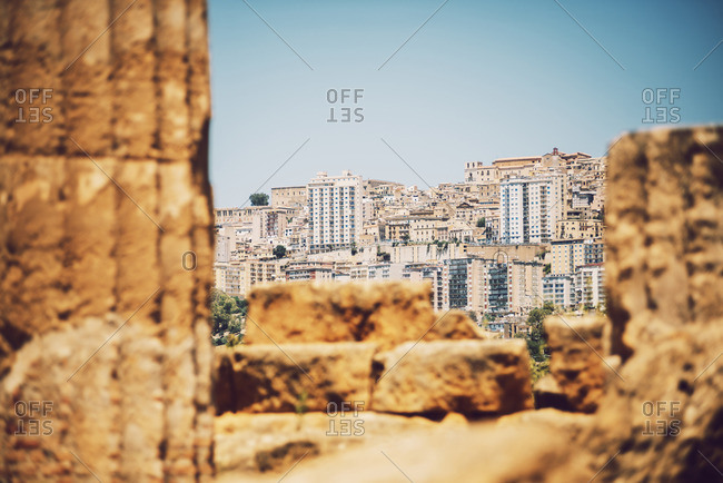 View of the city and ruins at the Valley of the Temples in Agrigento, Sicily, Italy