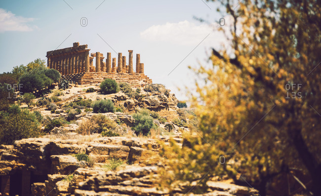 View of the Valley of the Temples in Agrigento, Sicily, Italy
