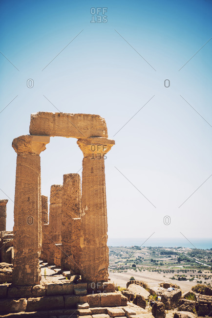 Columns at the Valley of the Temples in Agrigento, Sicily, Italy