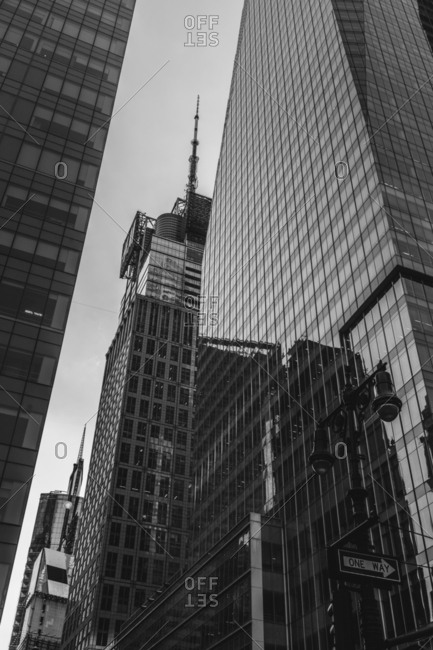 Manhattan buildings in black and white