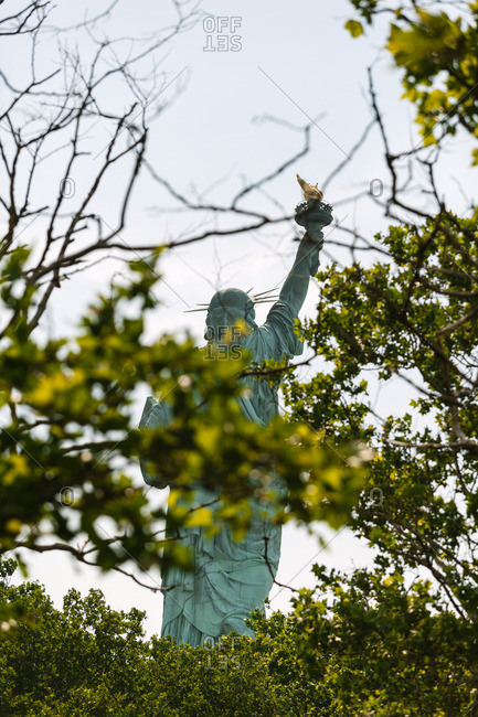 The Statue of Liberty seen between tree branches, New York City