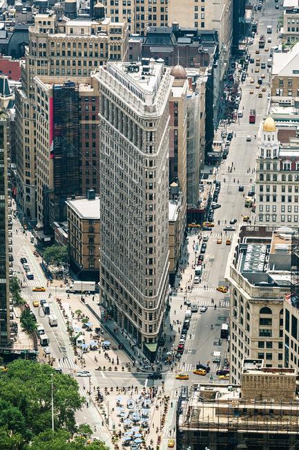 NEW YORK CITY, NEW YORK, USA - JUNE 15, 2015: Elevated view of Manhattan's Flatiron building