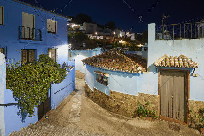 Juzcar, Spain - October 12, 2016: Village of painted blue as a stage for filming a movie