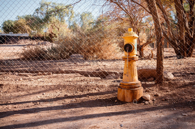 Fire hydrant in the Valley of the Moon in the Atacama desert, Chile