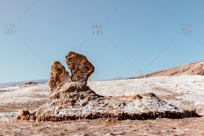 Land formation in the Valley of the Moon in the Atacama desert, Chile