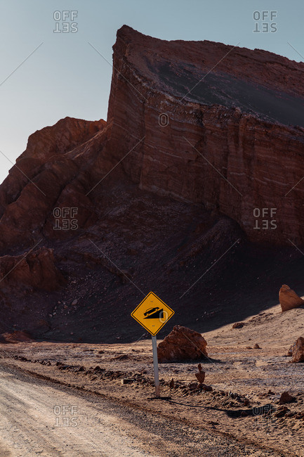 Roadside mountain in the Valley of the Moon in the Atacama desert, Chile