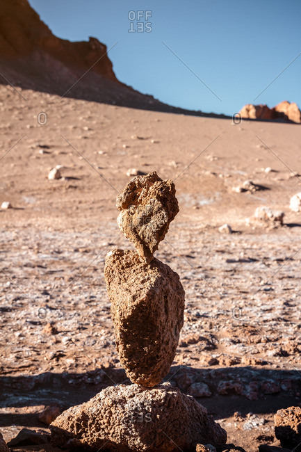 Stacked rock formation in the Valley of the Moon in the Atacama desert, Chile