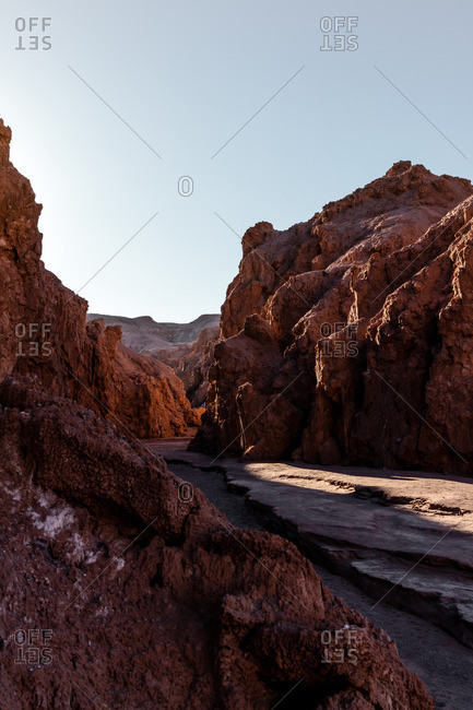 Mountain range in the Valley of the Moon in the Atacama desert, Chile