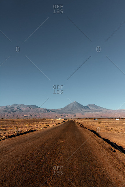 Dirt road in the Valley of the Moon in the Atacama desert, Chile