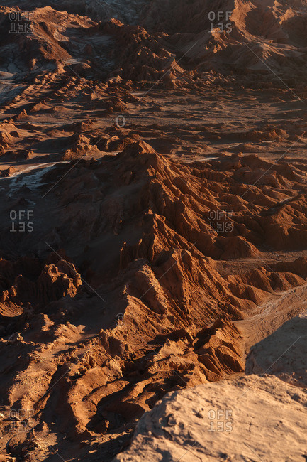 Aerial view of mountains in the Valley of the Moon in the Atacama desert, Chile