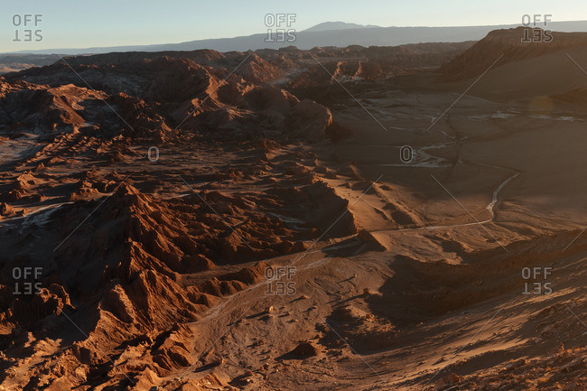 Aerial view of the Valley of the Moon in the Atacama desert, Chile