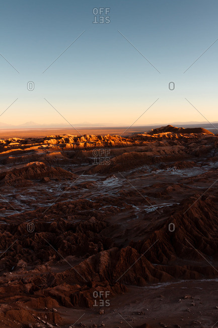 Sunrise over the Valley of the Moon in the Atacama desert, Chile