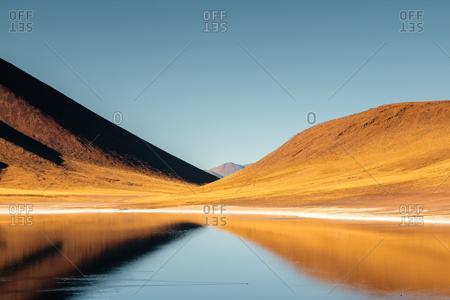 Mountain reflection in the Lagunas Altiplanicas, San Pedro de Atacama