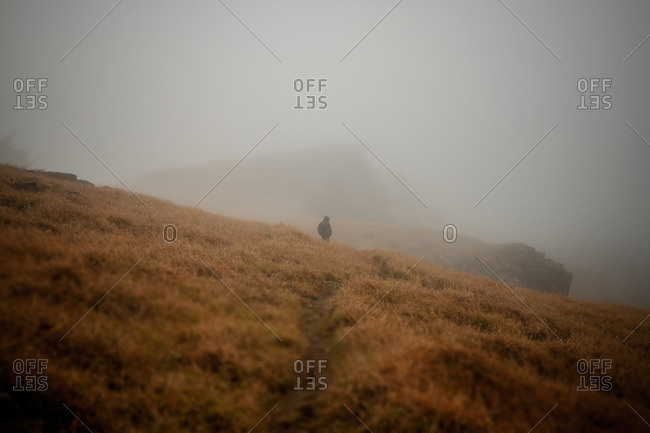 Landscape with man walking in the fog