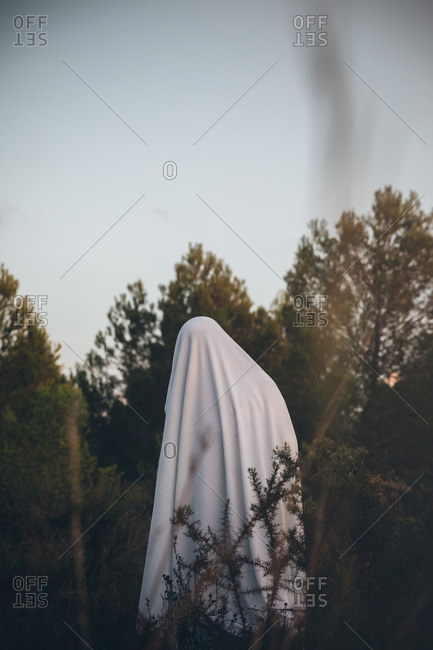 Frightening ghost standing alone in forest
