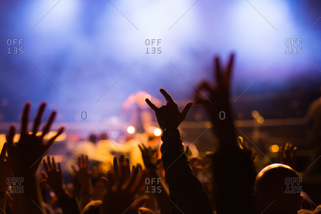 Cheering crowd at concert with foggy stage in the background