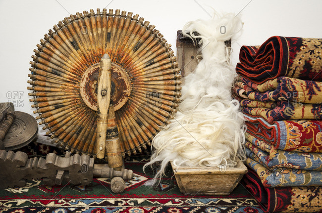 Traditional spinning wheel and spindle for making wool thread for turkish carpets. Cappadocia, Turkey