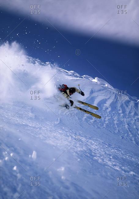 Skier turning off piste - Offset