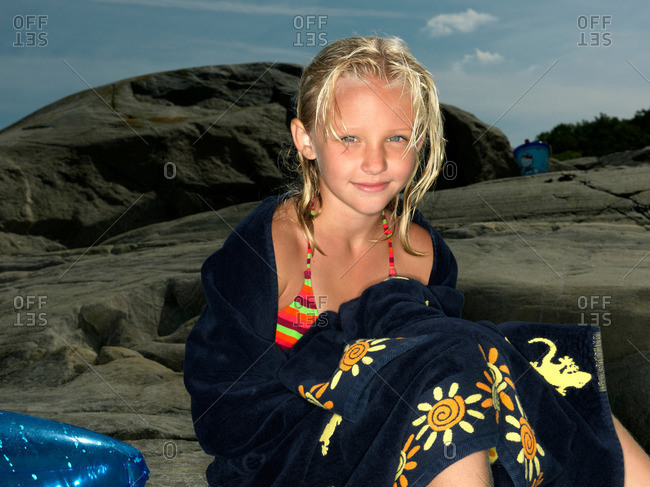 Girl wrapped in a towel