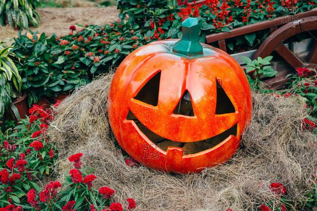 Pumpkin lantern in fall display