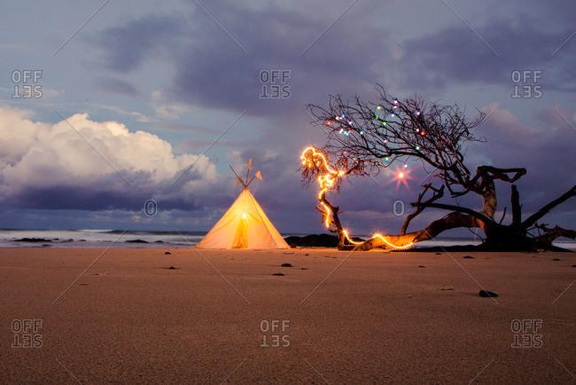 Teepee and lights on beach