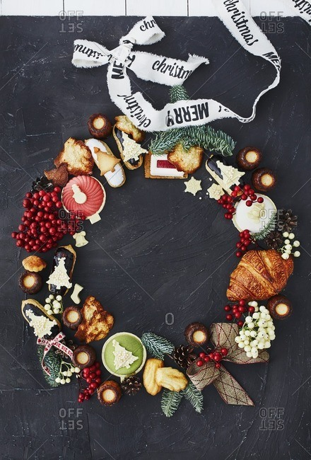 Items forming Christmas wreath shape