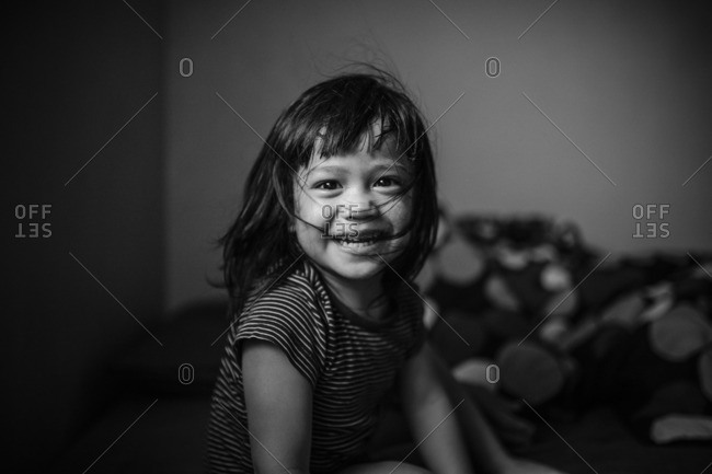 Smiling boy with bangs - Offset