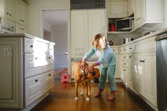 Little girl in a kitchen petting her dog