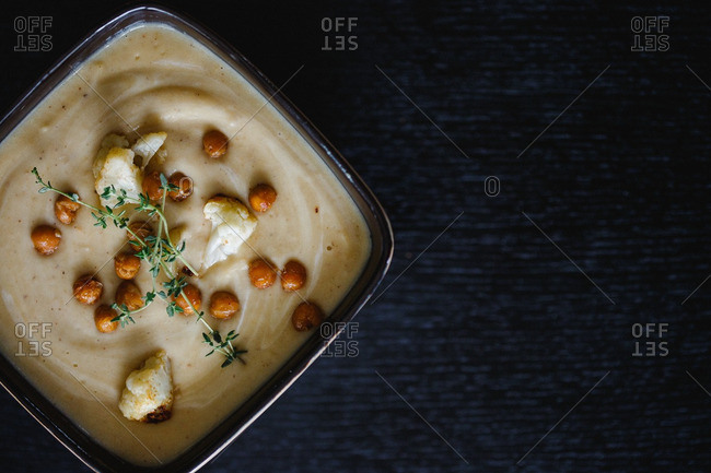 A puree with cauliflower topping