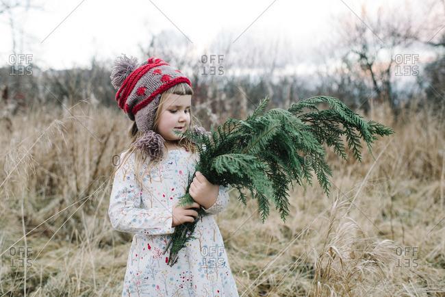 Little girl holding evergreen tree boughs