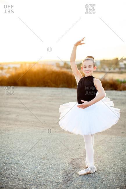 Girl doing a ballet pose