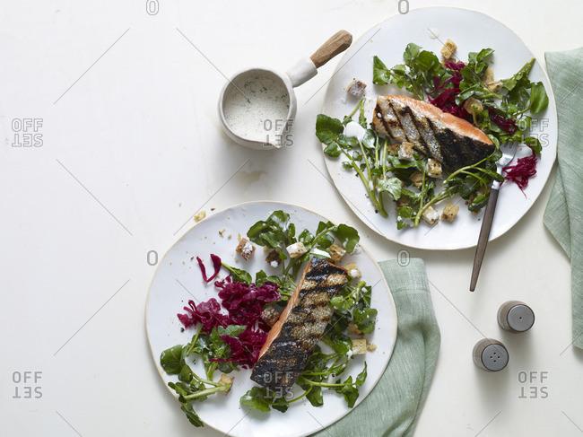 Grilled salmon watercress salad