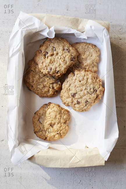 Oatmeal chocolate chip cookies on a marble background