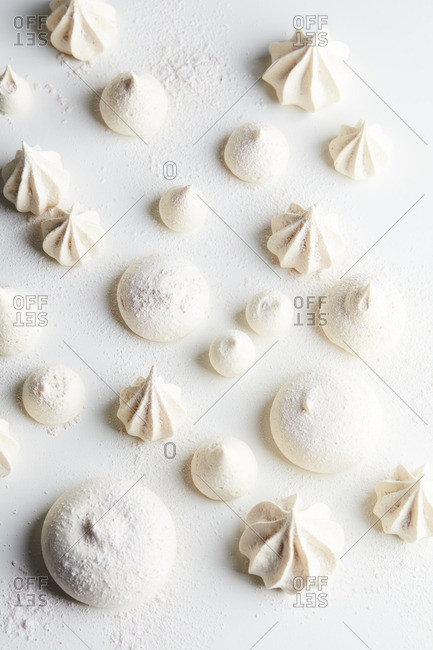 White meringue on a white background from above
