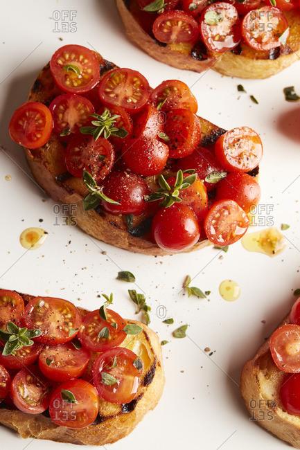 Close up of bruschetta with cherry tomatoes