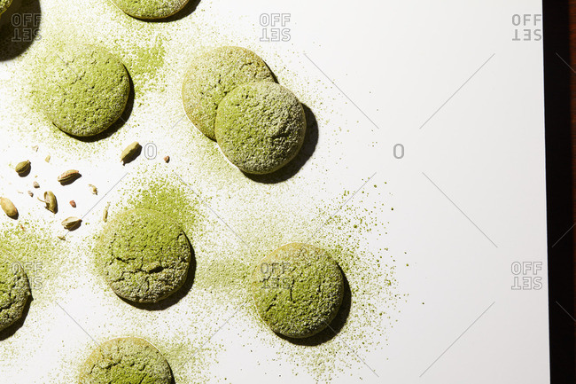 Matcha cookies and pistachios