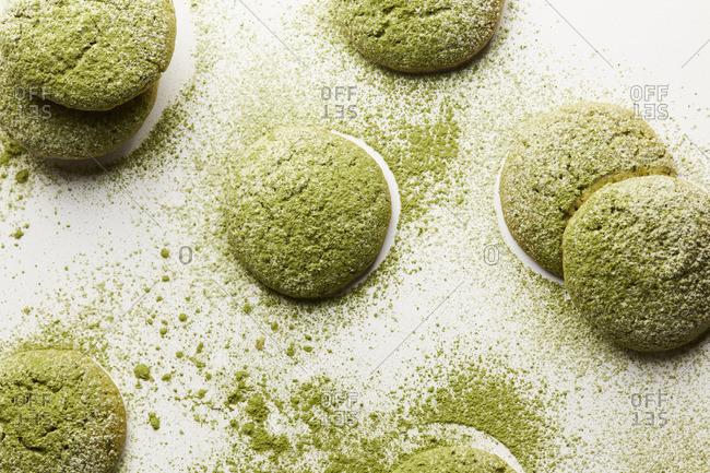 Close up of matcha cookies