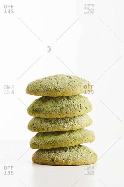 Stack of matcha cookies