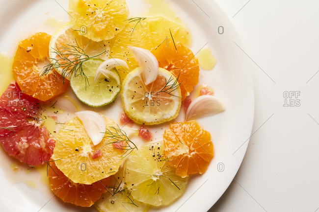 Overhead view of citrus salad